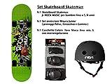 Skatemax Set Junior Skateboard + Caschetto + Protezioni Modelli per Bambini da 5 Anni a 8 Anni (Rock Music)