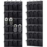 2 Pack Over the Door Shoe Organizers,Hanging Shoe Holder with 24 Durable Large Thickened Mesh Pockets,8 Hooks Mesh Shoe Storage Rack Organizer for Closet Bathroom Bedroom Pantry(59 x 21.6 inch,Black)