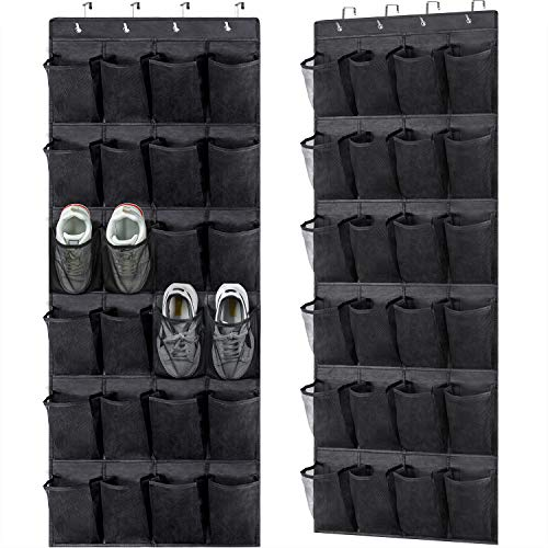 2 Pack Over the Door Shoe OrganizersHanging Shoe Holder with 24 Durable Large Thickened Mesh Pockets8 Hooks Mesh Shoe Storage Rack Organizer for Closet Bathroom Bedroom Pantry(59 x 216 inchBlack