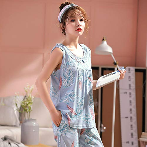 DFDLNL Conjunto de Pijama sin Mangas de algodón 100% para Mujer, Ropa de Dormir con Estampado de Plumas, Chaleco Chino, Pijama para Mujer, Ropa de casa XXXL