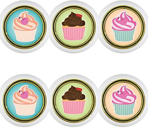 Kunststoff Möbelknopf Möbelgriff Möbelknauf 6er Set KST1017W Cupcake Kleine Universal Möbelknöpfe Schrank, Schublade, Kommode, Tür, Küche, Bad, Haushalt Kinder Kinderzimmer