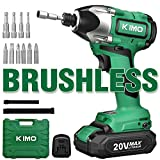 Impact Driver - 20V 2.0Ah Battery Brushless Cordless Impact Drill Kit w/ 2652in-lb 300NM...