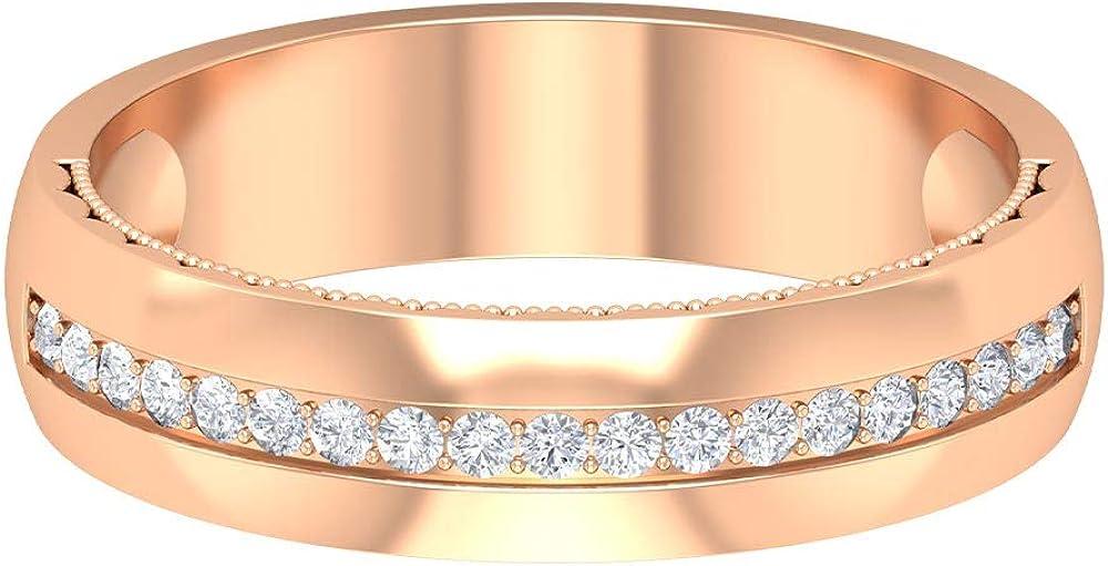 Moissanite Band Ring, Half Eternity Wedding Band, Solid Gold Milgrain Band Ring for Women, 14K Gold