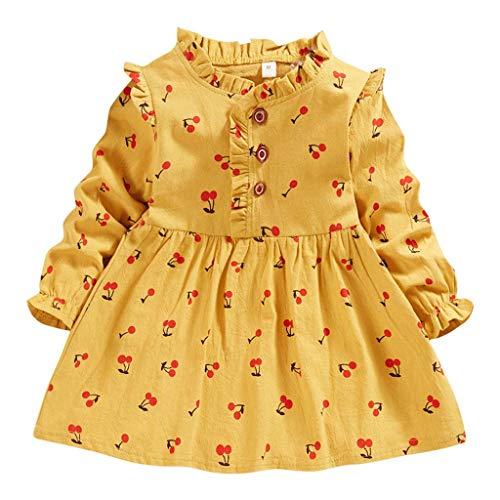 Vestidos para Niñas Bebes para Fiestas Vestido Princesa Niña Manga Larga Estampado de Cereza Invierno Ropa Bebe Niña Recien Nacido Fiesta Ceremonia Bautizo Tutú Disfraz 1-5 Año (Amarillo, 3-4 años)