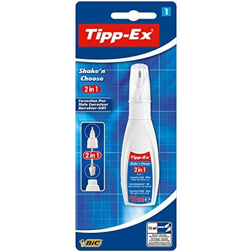 Tipp-Ex Korrekturstift Shake'n Choose 2-in-1, 15 ml, Blister 1 Stück, weiß
