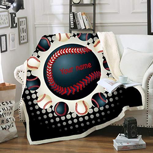 Mantas,Manta única de impresión de letras de béisbol,manta Sherpa de doble grosor,manta de sofá suave y cálida para cama,manta de almuerzo de oficina para adultos,regalos para niños,75×100cm/3