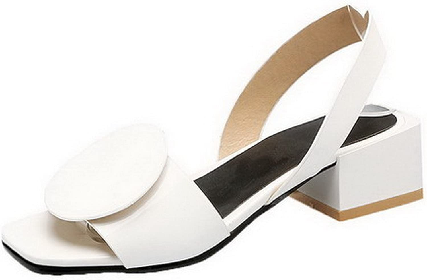 AmoonyFashion Women's Pull-On Patent Leather Solid Open Toe Sandals