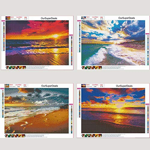 4 Pack 5d Full Drill Diamond Art Painting Kits for Adult Kids Sun Sunset Beach Diamond DIY Dotz for Home Wall Decor, 12×16 INCH (A-Pack)