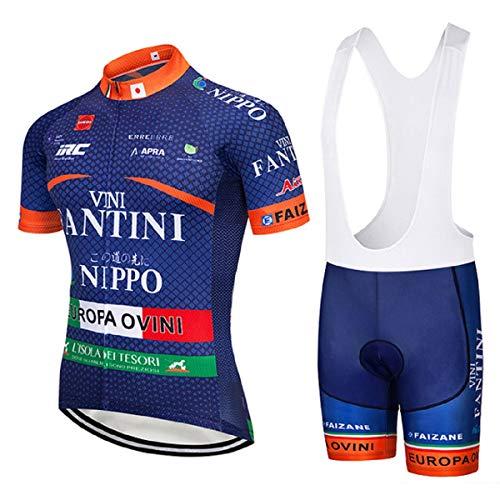 SUHINFE Conjunto Ropa Equipacion, Ciclismo Maillot y Culotte Pantalones Cortos con 5D Gel Pad para Verano Deportes al Aire Libre Ciclo Bicicleta, Fan-Blue, L