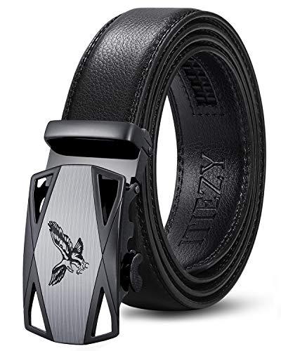 ITIEZY Cinturón Hombre de Cuero con Hebilla Automática Cinturón Casual de Piel para Caballero Negro