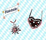 KarnevalsTeufel 2-TLG. Oktoberfestset, Dirndltasche in Herzform und Edelweißkette, Wiesn