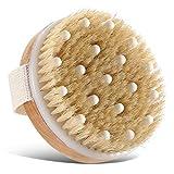 Body Bath Brush for Wet or Dry Brushing,Round Exfoliating Brush,Gentle Massage Nodes,Natural Bristles Improves Lymphatic Functions, Exfoliates, Stimulates Blood Circulation