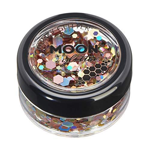 Mystiker grobkörniger Glitter von Moon Glitter - 100% kosmetische Glitzer für Gesicht, Körper, Nägel, Haare und Lippen - 3g - Prosecco