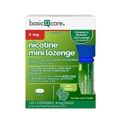 Basic Care Nicotine Mini Lozenge 4 mg, Stop Smoking Aid, Mint, 135 Count