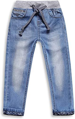 LITTLE-GUEST Boys Drawstring Toddler Elastic Waist Jeans B117 (8-9Y, S Blue)