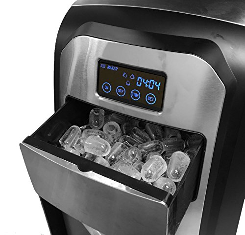 Touch Screen Stainless Steel Countertop Portable Ice Maker Home Office Boat RV Ice Cube Machine