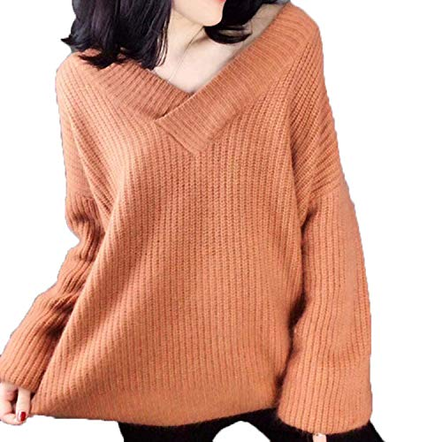 V Neck Solid Women Sweaters Korean Fashion Pullovers Winter Clothes Loose Warm Sueter Mujer Outwear Caramel 4XL