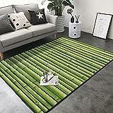 Alfombra de bambú verde para papel pintado de 1.5 x 1.7 m, lavable a máquina, antideslizante, suave para interiores, alfombra de área grande para sala de estar, dormitorio, lavadero, 150 x 200 cm