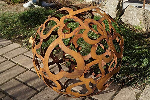 Dewoga Edelrost Kugel Herzen mit Standring Durchmesser 40cm Gartendekoration