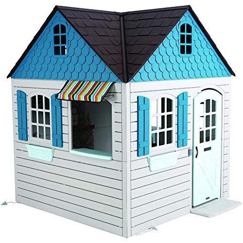 Lifetime Heavy Duty Plastic Outdoor Playhouse, 6ft x 6ft x 7 ft Tall, Beige & Blue