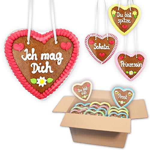 20x Premium - Lebkuchenherzen im Mischkarton 14cm - klassische Sprüche wie vom Oktoberfest oder der Wiesn - zum Verschenken, als Deko oder zum Vernaschen | Lebkuchenherz bestellen LEBKUCHEN WELT