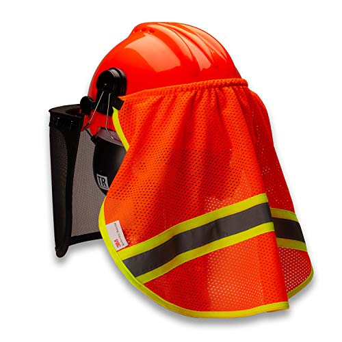 TR Industrial Neck Shade for Forestry Safety Helmet Mesh with 3M Reflector Breathable 100% Polyester Fabric