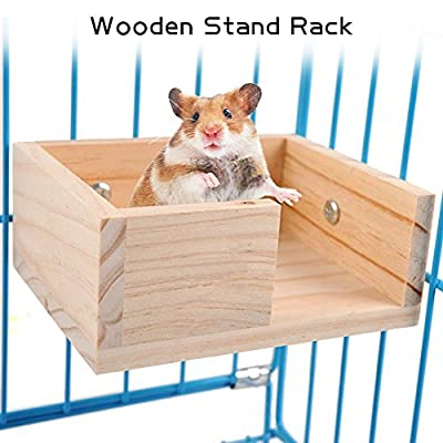 ALINT 1PC Hanging Mouse Natural Wooden Hamster Parrot Stand Cage Toy Hamster Station Board Branch Perches For Bird Rack Toy by ALINT