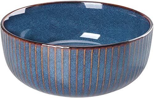 Salad Bowl 66 Oz, 8' Large Soup Bowls, Porcelain Round Serving Bowl Blue Decorative Bowl for Salad, Chip, Cereal, Fruits and Pasta(Blue)