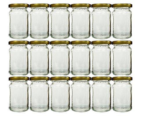Voorraadpottenset met schroefdop, goudkleurig deksel, 18-delig, inhoud 107 ml, ronde potten, inmaakpotten, jampotten, honing, potten, portiepotten, probeerpotten, imker