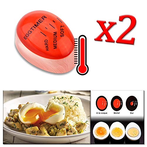 Adatech 2 x Temporizador DE COCCION Huevo MULTICULOR para COCER Huevos. Magic Egg