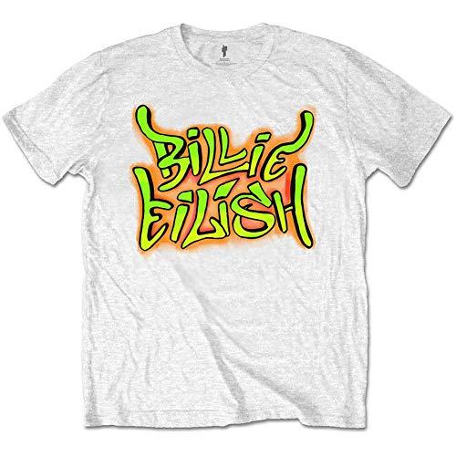 Billie Eilish Camiseta Oficial de Manga Corta con Estampado Graffiti - Blanco XL