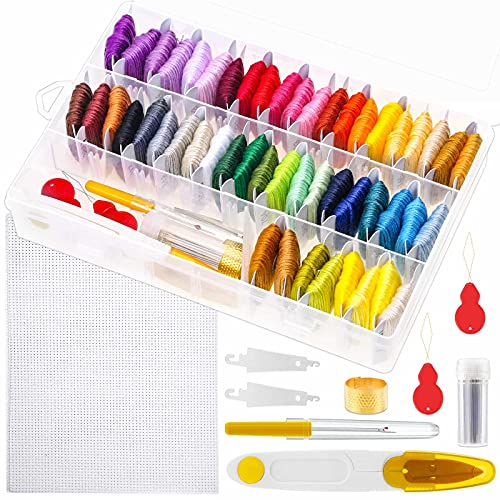 Paxcoo 88 Pcs Cross Stitch Supplies Kits with Organizer Box Including 50 Colors Embroidery Floss and 38 Pcs Embroidery Kit for Friendship Bracelet String Making