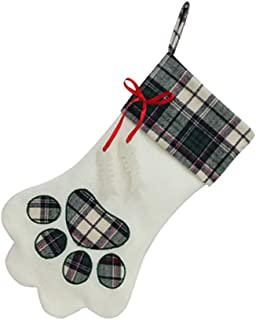 ALIMITOPIA Christmas Pet Stockings,Dog Cat Paw Santa Gift Candy Bag Socks Hanging Supplies for Xmas Tree Decoration(Large Size 17.7