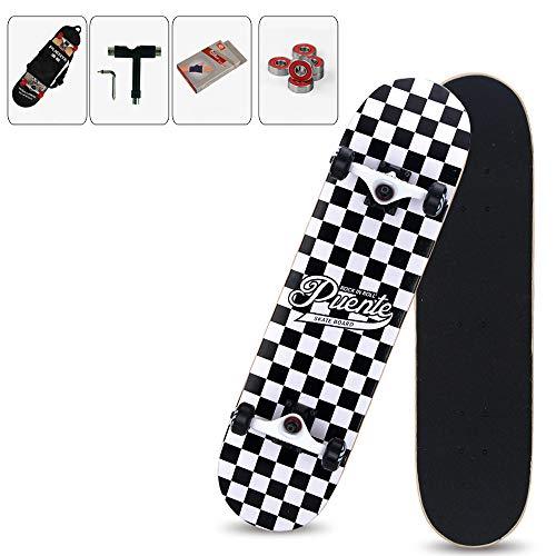 WRISCG Skateboard Skate Board Komplettboard Deck Holzboard Ahornholz, Farb- & Motivauswahl, konkave Deckform mit Doppel-Kick, Mit Rucksack, Handschuhe, Werkzeug, Kugellager,D
