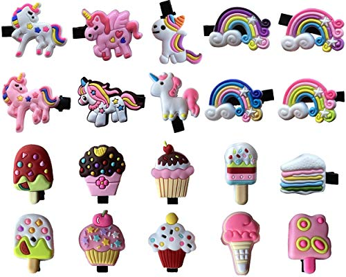 Unicorn Rainbow Cupcake Ice Cream Hair Clips