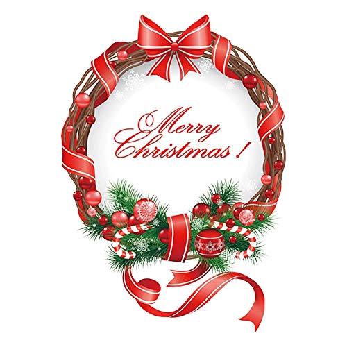 Hunpta @ Kranz Girlande Aufkleber DIY Exquisit Weihnachten Deko Selbstklebend Wandaufkleber Fensterbilder Fenstersticker Wandtattoo Weihnachtsdeko Wand Fenster Dekoration