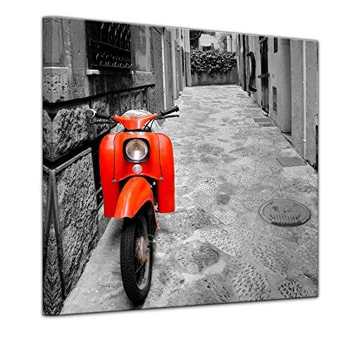 Wandbild - Retro Roller - Bild auf Leinwand 40 x 40 cm - Leinwandbilder Bilder als Leinwanddruck Motorisiert schwarz weiß - roter Motorroller