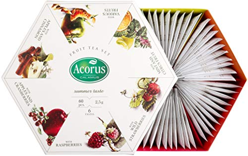 ACORUS Summer Taste - natural Fruit Tea Set of six different flavours in the Beautiful Presentation Box (60 tea bags)