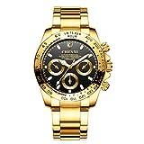MarquisJacobs Business - Reloj de Pulsera para Hombre (analógico, Movimiento de Cuarzo, Correa de Acero Inoxidable), Color Negro y Dorado