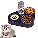 auvstar 3 en 1 Elevado Comedero Gato,Cuenco del Gato Doble Tazón, Comedero Automático para Mascotas con Dispensador de Agua ,Inoxidable Cuencos para Comida para Gatos y Perros Pequeños (Azul)