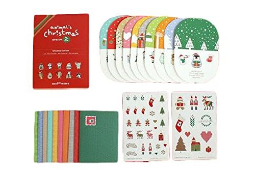 飛び出す クリスマスカード ギフトカード 10種セット シール 付き【 収納袋 セット 】 クリスマス カード プレゼント グリーティングカード レター 手紙 レターセット 立体 3D greeting card 61