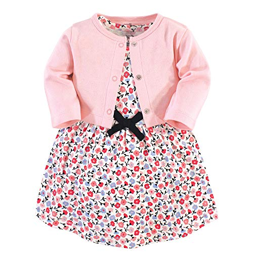 Touched by Nature - Chamarra y Vestido de algodón orgánico para niña, Ditsy Floral 2-Piece, 18-24 Months (24M)