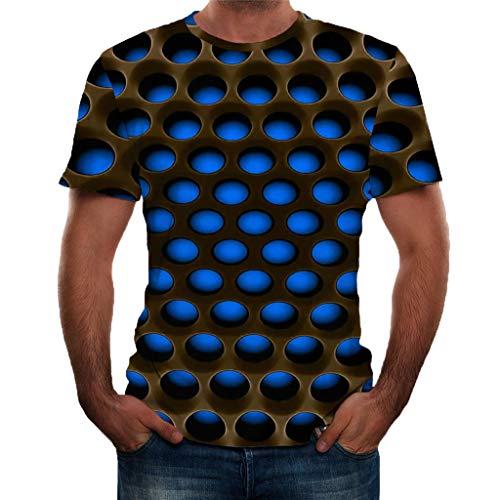 Herren Druck T-Shirt 3D-Trend Unisex T-Shirt Wabe Persönlichkeit gedruckt Kurzarm Beiläufige Rundhalsausschnitt Lässige Graphics Tees Spaß Motiv Tops (XL, Blau)