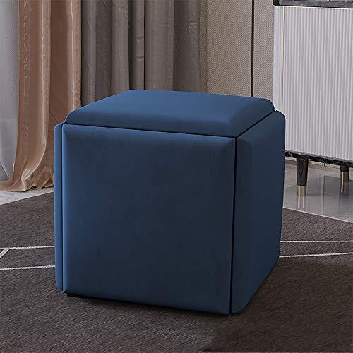 CJHOME Asiento Plegable Cube, Silla nórdica Rubik'S Cube Cinco en uno, Taburete de combinación de sillón, Silla Cuadrada, Taburete para Cambiar Zapatos,Azul