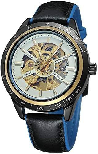 JZDH Mano Reloj Hombres mira Relojes de Pulsera Reloj mecánico automático Reloj de Cuero Reloj de Cuero Redondo Cuero Negro Correa Azul cuadrante Blanco Relojes Decorativos Casuales