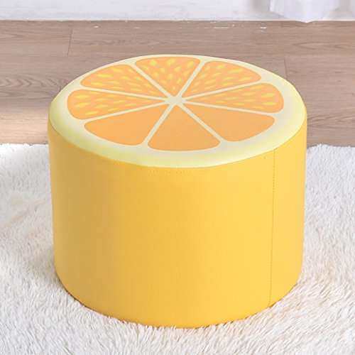 Dessin animé fruits enfant tabouret en cuir souple tabouret bébé apprentissage tabouret 40 * 40 * 30cm (Color : Yellow)