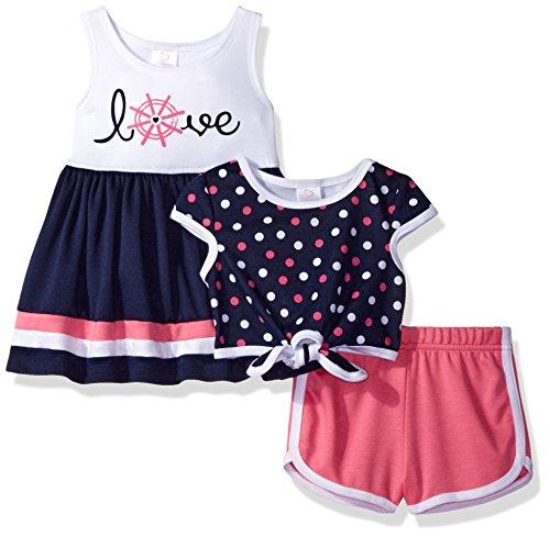 Youngland Baby Girls' 3 Pc Set, Dress, Polka Dot Pop-Over Top, Knit Short, Navy/White/Pink, 12M