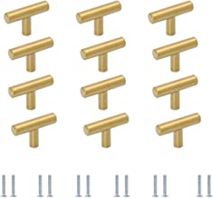 Meubelgrepen T-stanggreep meubelknoppen goud 12 stuks, commodeknop deurknop aluminiumlegering ladeknoppen voor kast keuken...