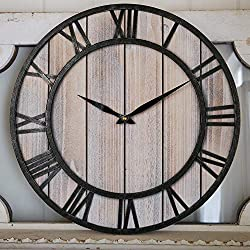 BEW Large Farmhouse Wall Clock, Vintage Rustic Roman Decorative Solid Wood Metal Iron Frame Wall Clock, Silent Indoor Hanging Clock for Living Room, Kitchen, Dining Room, Den - 18 Inch, Light Wooden