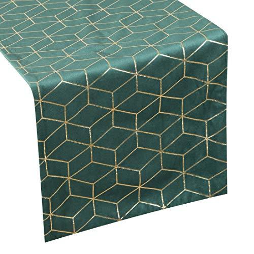 Eurofirany tafelkleed, tafelloper, fluweel, geometrisch patroon, tafeldecoratie, tafelkleed, tafelloper, tafelkleed, fluweel, elegant, 1 stuks, donkergroen, 35 x 140 cm